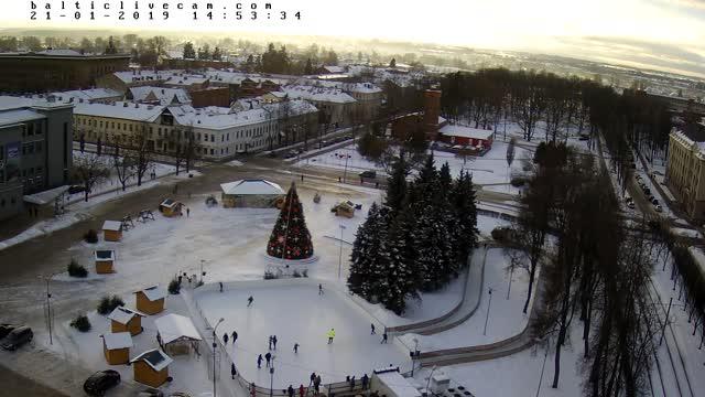 Webcam in Daugavpils shows Unity Square in the City Center